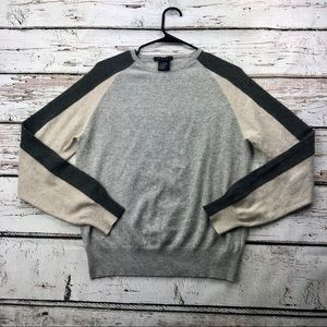 Theory Cashmere Sweater Colorblock Grey & Beige